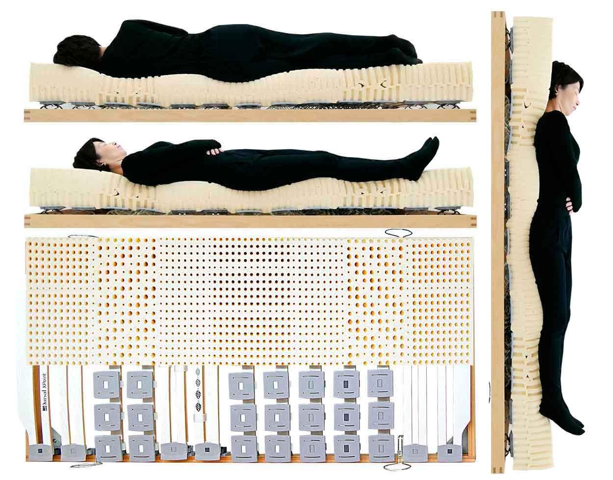 腰痛持ちにお薦めできる腰痛に良いウッドスプリングベッドとラテックスマットレス 立っている姿勢で眠れる腰に良いウッドスプリングベッドと腰痛におすすめラテックスマットレスの試し寝体験できます