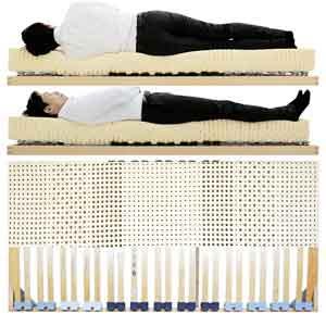 寝ると身体のコンディションが良くなると評価されるウッドスプリングベッドとラテックスマットレス男性寝姿勢図