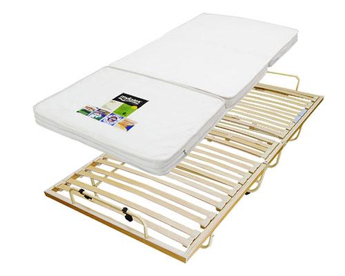 へたらない三つ折りラテックスマットレス7cmと折畳みウッドスプリングベッド